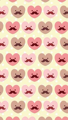 Mustache Heart Pattern ★ Find more epic #iPhone + #Android #Wallpapers and #Backgrounds at @prettywallpaper
