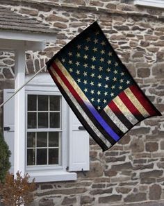 Red White & Blue American Flag Thin Blue Line Design Decorative House Flag