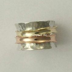 Gold Wedding Band Spinning Ring Silver Gold Ring von artisanlook
