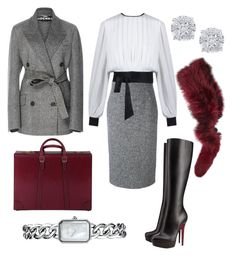 """""""grey"""" by belotch on Polyvore featuring Rochas, RED Valentino, Christian Louboutin, Gucci, Charlotte Simone, Effy Jewelry and Chanel"""