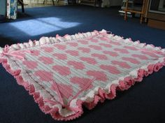 Hearts and Bows Crocheted Baby Blanket Afghan - Pink White - Made to Order. $100.00, via Etsy.
