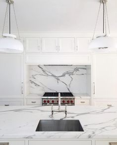 Marble slab in an LA kitchen design // https://www.instagram.com/alyssakapitointeriors/