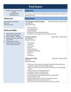 Licensed Massage Therapist Resume Template  Massage