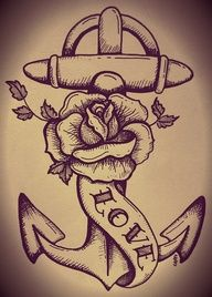 traditional tattoo anchor and rose.