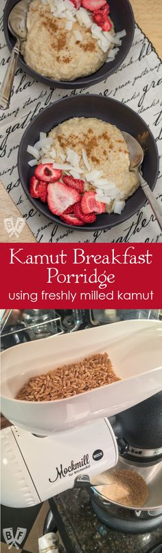 Kamut Breakfast Porridge: Freshly milled grain adds a whole new dimension + loads of nutrition to this simple breakfast cereal. Breakfast Porridge, Savory Breakfast, Sweet Breakfast, Breakfast Cereal, Breakfast Club, Best Breakfast Recipes, Brunch Recipes, Baby Food Recipes, Cooking Recipes