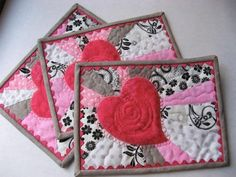 (7) Name: 'Quilting : Heart Glow Mug Rug