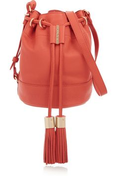 Coral textured-leather (Cow) Drawstring top Designer color: Orange Paradise Comes with dust bag Weighs approximately 2lbs/ 0.9kg Imported