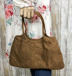 374aeae80896 Faux Suede Purse Floral Design Hobo Brown Tan Snap Closure Hippie Tribal