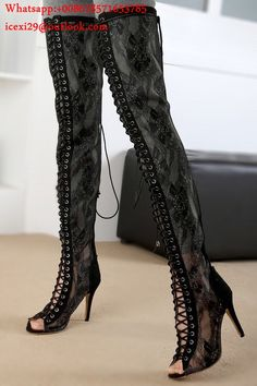 910bc437f18 Sexy Black Lace Up Thigh High Boots Open Toe High Heel Bootie Sandals