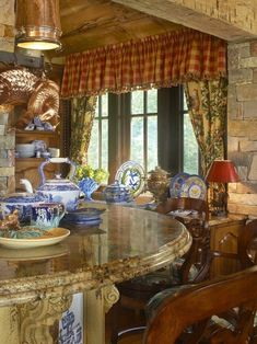 Toile with roosters, red checks, blue & white ironstone, copper, stone, modern French country