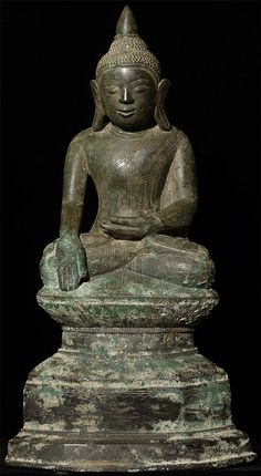 Antique Burmese Shan Buddha Material: Bronze 31 cm high Shan (Tai Yai) style Bhumisparsha Mudra 17-18th century Originating from Burma