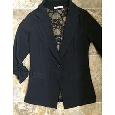 NWOT  black w/ lace blazer Such a beautiful blazer with unique lace back! Bought at a boutique without trying it on and it doesn't fit me so my loss is your gain  Jackets & Coats Blazers