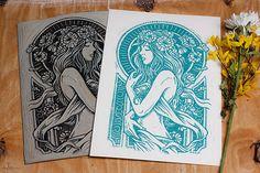 Dame De Fleurs - Block Print on Behance