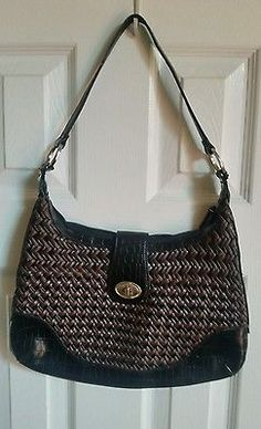 COLDWATER CREEK Leather Shoulder Bag Brown and Black Leather
