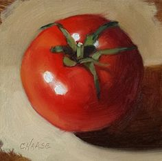 """""""Tomato Season"""" 4 x 4"""" oil on Gessobord Day 5 of 30 in 30 Day Challenge SOLD Shown in a virtual frame as an example I'm dreamin..."""