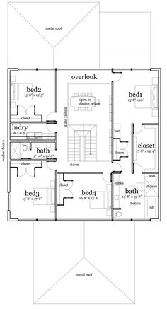 Modern Plan: 3,396 Square Feet, 4 Bedrooms, 3 Bathrooms - 028-00075