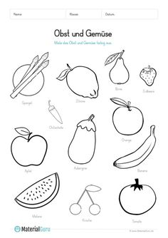 A free worksheet on fruit and vegetables, on which the children should color black and white pictures of fruit and vegetables. Fruit Picture, German Language Learning, Christmas Labels, This Little Piggy, Black And White Illustration, Black And White Pictures, Kids Nutrition, Ms Gs, Childrens Books