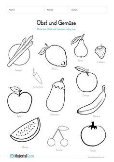 Ein kostenloses Arbeitsblatt zum Thema Obst und Gemüse, auf dem die Kinder Schwarz-Weiß-Abbildungen von Obst und Gemüse farbig ausmalen sollen. Jetzt kostenlos downloaden!
