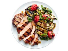 Grilled Pork and Ratatouille recipe from Food Network Kitchen via Food Network Ratatouille Recipe Food Network, Food Network Recipes, Healthy Summer Recipes, Grilled Pork, Pork Dishes, Pork Recipes, Carne, Grilling, Recipes