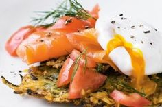 Zucchini Rosti Topped with Salmon and Poached Eggs