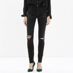 My absolute favorite jeans:  Madewell - High Rise Skinny Cut-Edge Jeans in Black Sea.