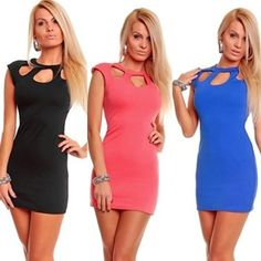 $9.99 - 2014 hot sale New Sexy Club tops women fashion sleeveless dress Black Blue Pieces of red 1034