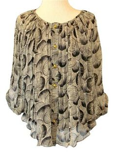 MM Couture : Black & Taupe Print Chiffon Blouse With Bat Wing Sleeves & Cami