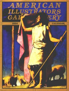 """Maxfield Parrish - cover of American Illustrators Gallery Calendar for 1994 - Painting is """"Shepherd with Purple Robe"""" (1889)"""