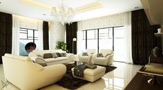 Wallpapered Living Room