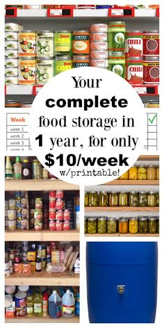 complete food storage in 1 year for under $10 per week, with a printable checklist!