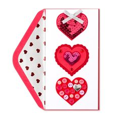 Papyrus Valentine/'s day Greeting Card Heart Buttons blank inside