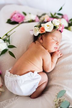 Candice Benjamin Photography newborn session baby in flower crown.