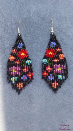 Unique author's earrings with abstract floral print Beaded earrings Native Seed bead earrings chandelier Boho earrings Fringe earrings Unique author's earrings with abstract floral print Beaded earrings Native Seed bead earrings chand Beaded Earrings Native, Beaded Earrings Patterns, Beaded Jewelry Designs, Seed Bead Jewelry, Bead Jewellery, Seed Bead Earrings, Fringe Earrings, Diy Earrings, Beading Patterns