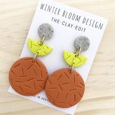 Speckled Grey, Lime & Burnt Orange 3 Drop Dangles - Winter Bloom Design