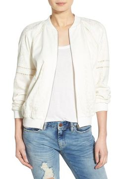J.O.A. Embroidered Bomber Jacket available at #Nordstrom - BRING SIZE S, white