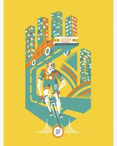 Artcrank SFO Bicycle Poster by Javier Garcia