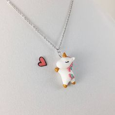 Unicorn Necklace // Polymer Clay Charm Necklace // Kawaii Jewelry // Unicorn Charm Gift by CrownedClay on Etsy Unicorn Jewelry, Unicorn Necklace, Unicorn Gifts, Cute Unicorn, Unicorn Print, Polymer Clay Necklace, Polymer Clay Charms, Clay Earrings, Fimo Kawaii