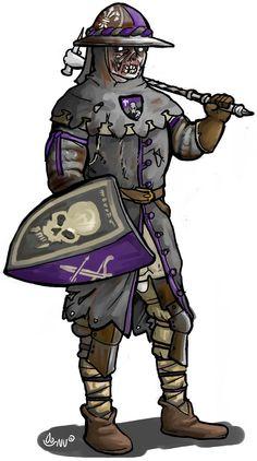 Larp group consept, men at arms kettlehat. The Faithful Company, conquest of mythodea untotes fleisch (undeath). Couldbeworse-comic.com