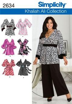 2634 Plus Size Tops  Plus Size & Plus Size Petite Khaliah Ali Collection pullover tunic & tops sewing pattern.