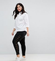 Get this New Look Plus's basic leggings now! Click for more details. Worldwide shipping. New Look Curve Lace Up Legging - Black: Plus-size leggings by New Look Plus, Stretch jersey, High-rise waist, Lace-up sides, Close-cut bodycon fit, Machine wash, 68% Viscose, 28% Nylon, 4% Elastane, Our model wears a UK 18/EU 46/US 14 and is 175 cm/5'9� tall. With the same trend-led, fashion edge as the mainline collection, New Look's plus-size clothing range features stylish pieces up to a size 28…