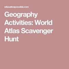 Geography Activities: World Atlas Scavenger Hunt