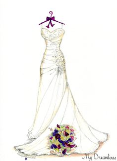 Valentine's Day Gift. Dreamlines wedding dress sketch. Check out our Valentine's Day gift ideas. Click here to see more: http://www.mydreamlines.com/p-c/valentines-day-gifts/