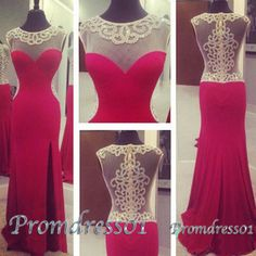 2015 cute wine-red round neck side slit sequins long slim prom dress for teens, ball gown, evening dress #promdress