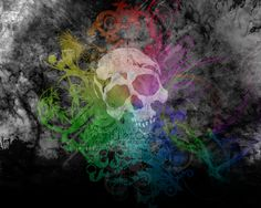 Artistic Love  Dark Skull Parreirao Diogo Colors Rainbow Wallpaper