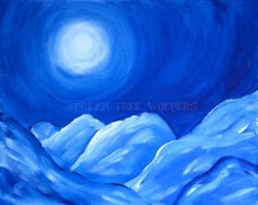 Moonlit Mountains original painting by DreamTreeWonders on Etsy