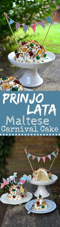 Celebrate Carnival Season with this absolutely Decadent & Fun Delicacy from Malta, the Maltese Prinjolata: Genoise Sponge, Buttercream & loads of Pine Nuts!
