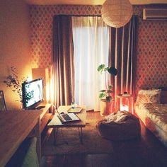 女性で、1Rのダメになるソファ/ワンルーム/ウンベラータ/グリーンのある暮らし/NO GREEN NO LIFE…などについてのインテリア実例を紹介。「照明を抑えめにしたほうが癒されるのなんでだろ。夏の夕暮れ好きです。」(この写真は 2015-07-26 20:54:31 に共有されました)