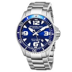 Stuhrling Original Swiss Quartz Aquadiver Unidirectional Stainless Steel Link Bracelet Watch