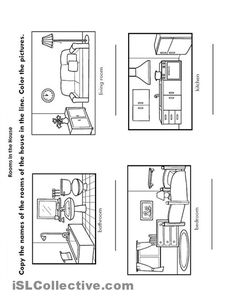 Learning is fun house worksheets language work for Living room furniture layout worksheet