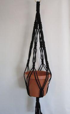 Macrame planta suspensión estilo Vintage 4mm, 30 pulgadas - negro